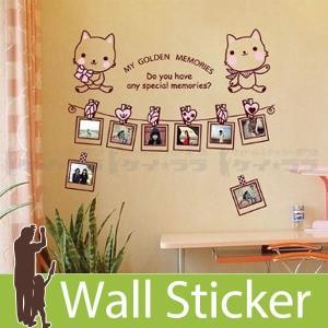 ウォールステッカー 壁 猫 猫 フレーム 貼ってはがせる のりつき 壁紙シール ウォールシール ウォールステッカー本舗|senastyle