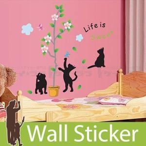ウォールステッカー 壁 猫 戯れる黒猫(大) 貼ってはがせる のりつき 壁紙シール ウォールシール ウォールステッカー本舗|senastyle