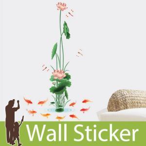ウォールステッカー 花 ハス 蓮 はす 鯉 アルファベット 貼ってはがせる のりつき 壁紙シール ウォールシール 植物 木 花|senastyle