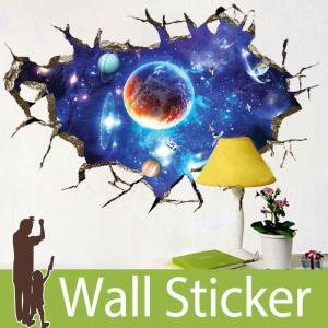 トリックアート ウォールステッカー だまし絵 北欧 トイレ リビング 子供部屋 風景 景色 宇宙 星 惑星 ひび割れ senastyle