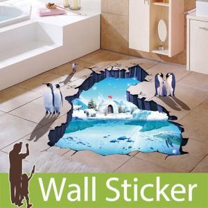 ウォールステッカー トリックアート イルカ ペンギン 水中 3D はがせる ステッカー シール だまし絵 北欧 トイレ リビング 子供部屋|senastyle
