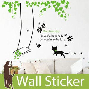 ウォールステッカー ネコ 猫 ねこ 北欧 かわいい 両面印刷 葉っぱ ブランコ あしあと リビング 貼ってはがせる おしゃれ 簡単リメイク|senastyle