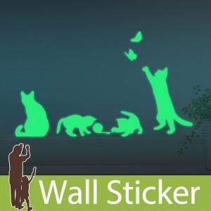 ウォールステッカー ねこ 蓄光 猫 ネコ キャット 子猫 貼ってはがせる 子供部屋 リビング インテリア シール のり付き おしゃれ y3|senastyle