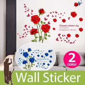 ウォールステッカー バラ ローズ 赤 深紅 青 ブルー 蝶 チョウ バタフライ バレンタイン 花 フラワー 英文 貼ってはがせる 華やか 素敵 キレイ 北欧|senastyle