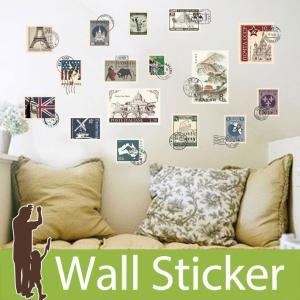 ウォールステッカー 切手 スタンプ 海外切手 世界遺産 アンティーク調 貼ってはがせる ステッカー おしゃれ 北欧 世界の風景 シンボル 建物 senastyle