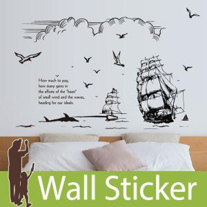 ウォールステッカー 海 船 ヨット ボート カモメ セイリング 英字 英語 英文 貼ってはがせる ステッカー 航海 北欧 かわいい プレイルーム senastyle