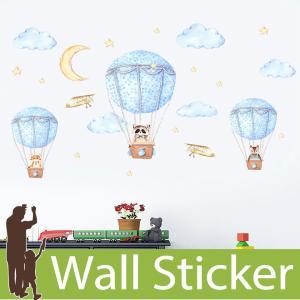 ウォールステッカー 動物 アニマル くも 雲 月 星 気球 ねこ くま きつね 飛行機 (気球に乗った動物) 貼ってはがせる 北欧 インテリアシール|senastyle