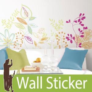 ウォールステッカー 花 (リビエラ) ルームメイツ RoomMates 壁紙シール 貼ってはがせる のりつき ウォールシール|senastyle
