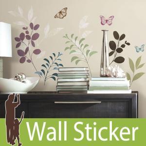 ウォールステッカー 花 (ボタニカルバタフライ) ルームメイツ RoomMates 壁紙シール 貼ってはがせる のりつき ウォールシール|senastyle