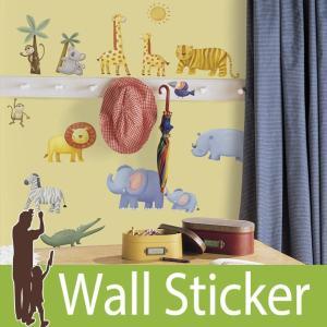 ウォールステッカー アニマル 動物 (ジャングルアドベンチャー) ルームメイツ RoomMates 壁紙シール 貼ってはがせる のりつき ウォールシール|senastyle