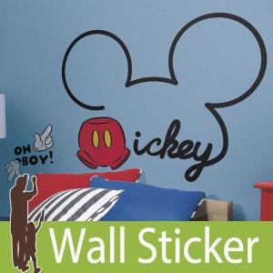 ウォールステッカー キャラクター ディズニー (オールアバウト ミッキー (ジャイアント)) ルームメイツ RoomMates 壁紙シール 貼ってはがせる のりつき|senastyle