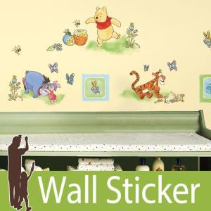 ウォールステッカー キャラクター ディズニー (くまのプーさん) ルームメイツ RoomMates 壁紙シール 貼ってはがせる のりつき ウォールシール|senastyle