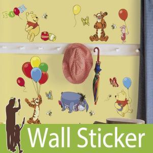 ウォールステッカー キャラクター ディズニー (プー&フレンズ) ルームメイツ RoomMates 壁紙シール 貼ってはがせる のりつき ウォールシール|senastyle