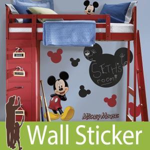 ウォールステッカー キャラクター ディズニー (ミッキーマウス チョークボード) ルームメイツ RoomMates 壁紙シール 貼ってはがせる のりつき ウォールシール|senastyle