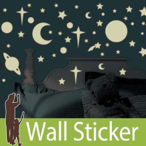 ウォールステッカー 星 月 蓄光 (セレスティアル) ルームメイツ RoomMates 壁紙シール 貼ってはがせる のりつき ウォールシール|senastyle