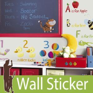 ウォールステッカー アニマル 動物 アルファベット (エジュケーションステ−ション) ルームメイツ RoomMates 壁紙シール 貼ってはがせる のりつき|senastyle