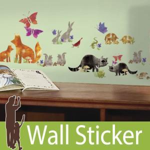 ウォールステッカー アニマル 動物 (ウッドランドフレンズ) ルームメイツ RoomMates 壁紙シール 貼ってはがせる のりつき ウォールシール|senastyle