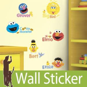 ウォールステッカー キャラクター (セサミストリート スクリブル) ルームメイツ RoomMates 壁紙シール 貼ってはがせる のりつき ウォールシール|senastyle