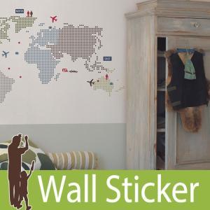 ウォールステッカー 世界地図 (KL ワールドマップ) ルームメイツ RoomMates 壁紙シール 貼ってはがせる のりつき ウォールシール|senastyle