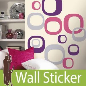 ウォールステッカー 北欧 (モダンオーバル) ルームメイツ RoomMates 壁紙シール 貼ってはがせる のりつき ウォールシール|senastyle