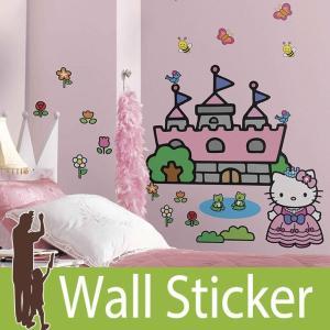 ウォールステッカー キャラクター (ハローキティ プリンセスキャッスル) ルームメイツ RoomMates 壁紙シール 貼ってはがせる のりつき ウォールシール|senastyle