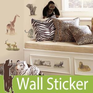 ウォールステッカー アニマル 動物 (サファリ) ルームメイツ RoomMates 壁紙シール 貼ってはがせる のりつき ウォールシール|senastyle