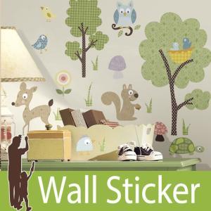 ウォールステッカー 動物 鳥 (ウッドランドアニマル) ルームメイツ RoomMates 壁紙シール 貼ってはがせる のりつき ウォールシール|senastyle