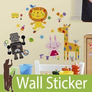 ウォールステッカー 動物 キャラクター (LAZOO ラズー) ルームメイツ RoomMates 壁紙シール 貼ってはがせる のりつき ウォールシール|senastyle