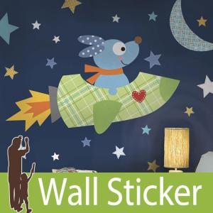 ウォールステッカー  ロケット 星 (ロケットドック) ルームメイツ RoomMates 壁紙シール 貼ってはがせる のりつき ウォールシール|senastyle