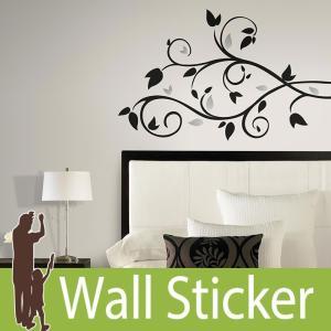 ウォールステッカー モノトーン 葉 (ブラックスクロール ウィズ ホイルリーブス) ルームメイツ RoomMates 壁紙シール 貼ってはがせる|senastyle