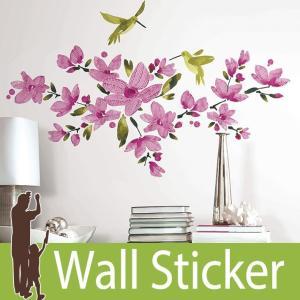 ウォールステッカー 花 鳥 (ピンク フロウィングヴァイン) ルームメイツ RoomMates 壁紙シール 貼ってはがせる のりつき ウォールシール|senastyle