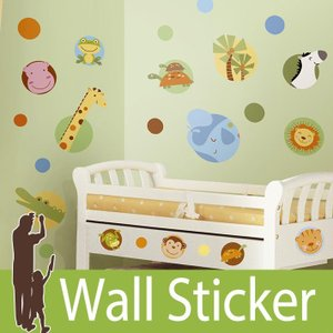 ウォールステッカー 動物 (ジャングルアニマルポルカドット) ルームメイツ RoomMates 壁紙シール 貼ってはがせる のりつき ウォールシール|senastyle