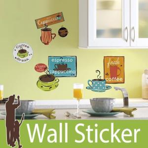 ウォールステッカー コーヒー カップ (カフェ) ルームメイツ RoomMates 壁紙シール 貼ってはがせる のりつき ウォールシール|senastyle