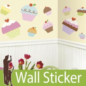 ウォールステッカー スイーツ (カップケーキ(ジャイアント)) ルームメイツ RoomMates 壁紙シール 貼ってはがせる のりつき ウォールシール|senastyle
