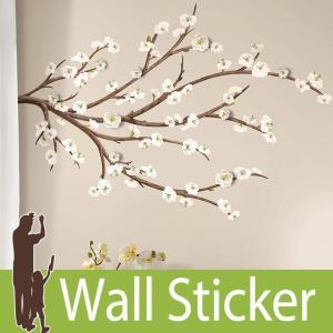 ウォールステッカー 花 3Dデコレーション (ホワイトブロッサム ウィズ 3D装飾) ルームメイツ RoomMates 壁紙シール 貼ってはがせる|senastyle