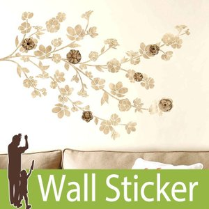 ウォールステッカー 花 3Dデコレーション (フローラルブロッサム ウィズ 3D装飾) ルームメイツ RoomMates 壁紙シール 貼ってはがせる|senastyle