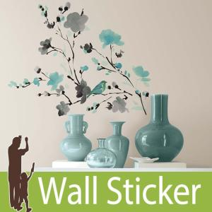 ウォールステッカー 花 鳥 (ウォーターカラーブランチ) ルームメイツ RoomMates 壁紙シール 貼ってはがせる|senastyle