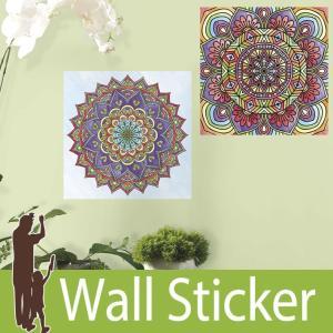 ウォールステッカー 幾何学模様 (ぬり絵ウォールステッカー マンダラ) ルームメイツ RoomMates 壁紙シール 貼ってはがせる|senastyle