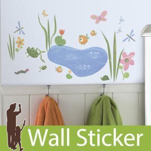 ウォールステッカー 花 蝶 カエル 魚 ポッピーポンド 半透明 かわいい 北欧 ルームメイツ RoomMates 壁紙シール リビング 子供部屋|senastyle