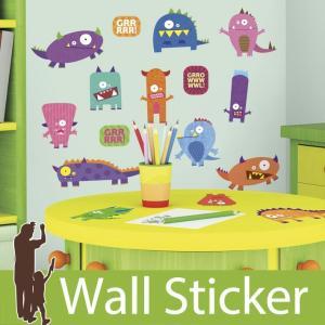 ウォールステッカー かわいい 怪物 モンスター 半透明 きれい 北欧 ルームメイツ RoomMates 壁紙シール リビング 子供部屋|senastyle