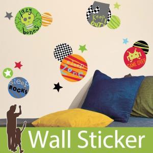 ウォールステッカー  スカル 骸骨 星 ボーイスポット 不透明 北欧 ルームメイツ RoomMates 壁紙シール リビング 子供部屋|senastyle