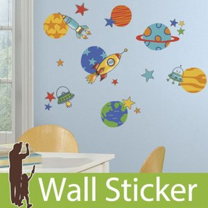 ウォールステッカー ロケット 宇宙船 星 プラネット プラネッツアンドロケッツ 不透明 北欧 ルームメイツ RoomMates 壁紙シール 子供部屋|senastyle