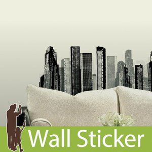 ウォールステッカー モノクロ シティスケープ 半透明 かわいい きれい 北欧 ルームメイツ RoomMates 壁紙シール リビング|senastyle
