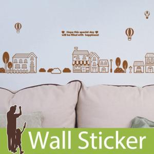 ウォールステッカー かわいい 貼ってはがせる 気球と街並み 北欧 木 ツリー 家 英字 アルファベット シンプル トイレ ウォールデコ 簡単リメイク senastyle