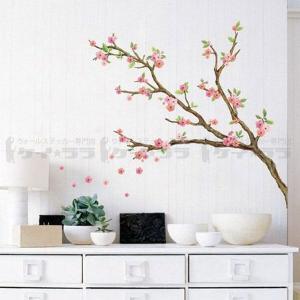 ウォールステッカー 壁 木 花 桜の花 貼ってはがせる のりつき 壁紙シール ウォールシール 植物 木 花 アジアン|senastyle