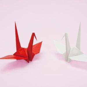 折り鶴 紅白 15cm 100羽|senbanotsuru