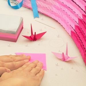 千羽鶴キットM ピンク5色 手作りキット【水晶付】千羽鶴用折り紙と材料のセット Mサイズ(7.5cm角折り紙) senbanotsuru