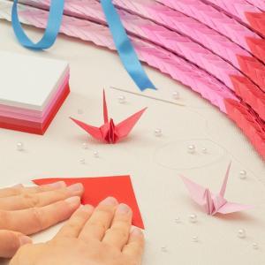 千羽鶴キットM レッド5色 手作りキット【水晶付】千羽鶴用折り紙と材料のセット Mサイズ(7.5cm角折り紙) senbanotsuru