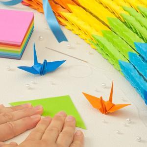 千羽鶴キットM虹8色   手作りキット 千羽鶴用折り紙と材料のセット Mサイズ(7.5cm角折り紙)|senbanotsuru