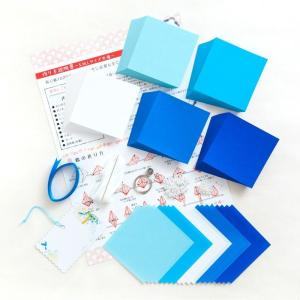 千羽鶴キットM ブルー5色 手作りキット 千羽鶴用折り紙と材料のセット Mサイズ(7.5cm角折り紙)|senbanotsuru|02